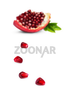 Pomegranate seeds and juicy  slice
