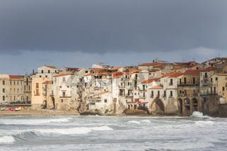 European Coastal travel townof Cefalu in Sicily, Italy.