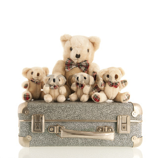 Vintage bears on suitcase