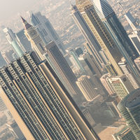Aerial view of Dubai downtown skyscrapers.