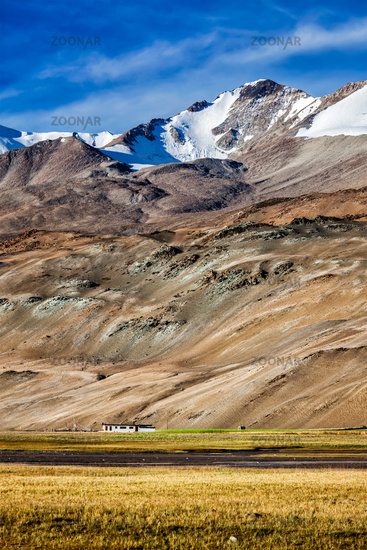 Korzok village at Himalayan lake Tso Moriri, Changthang region, Ladakh
