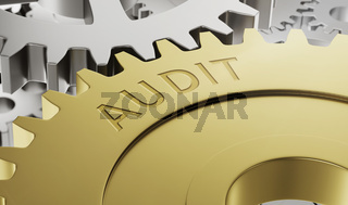 Metal gear wheels with the engraving Audit - 3d render