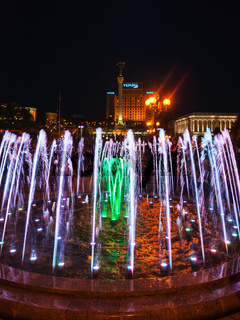 opening of the singing fountains on Maidan in Kiev