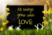 Sunny Narcissus, Easter Egg, Bunny, Quote All Things Grow Love