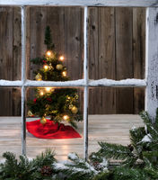 Christmas Tree decoration on wooden background