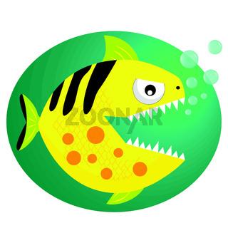 Yellow Piranha. Fish flat style vector illustration.