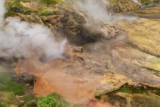Eruption Bolshoy Big Geyser in Valley of Geysers.