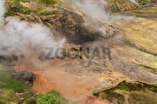 Eruption Bolshoy Big Geyser in Valley of Geysers.