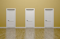 beige wall and three doors background
