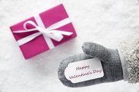Pink Gift, Glove, Text Happy Valentines Day