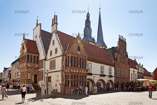 market place with town-hall and the church of St. Nicholas, Lemgo, North Rhine-Westphalia, Germany