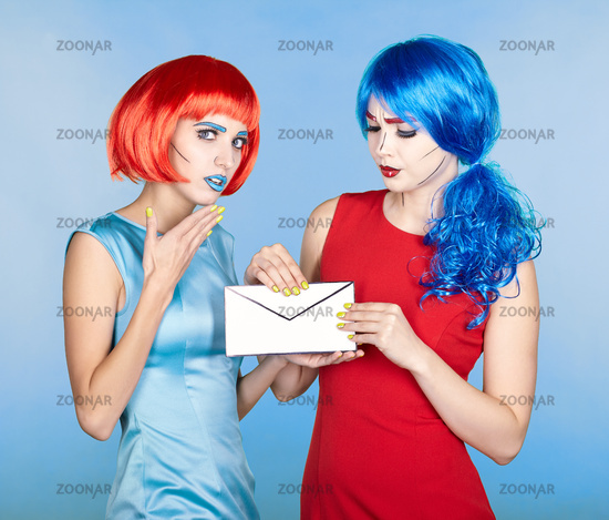 Portrait of young women in comic pop art make-up style. Females are reading letter