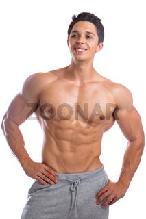 Fitness Bodybuilder Bodybuilding Muskeln Mann stark muskulös jung schaut nach oben Freisteller