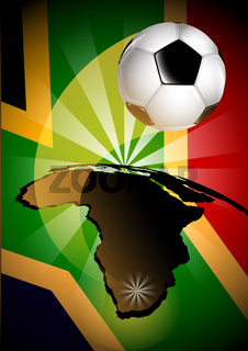 South Africa Flag  Soccer Ball Background