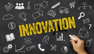 Innovation written on a blackboard with icons