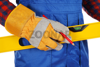 Torso of worker in blue with tools isolated on white