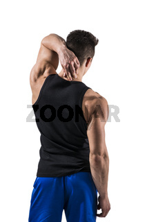 Attractive muscular young man's back