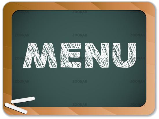 Blackboard with Restaurant Menu Message written with Chalk