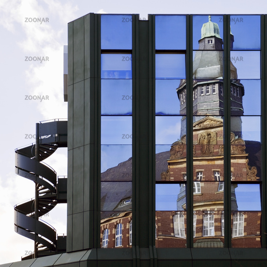 old post office reflecting in the facade of citycenter, Gelsenkirchen, Ruhr Area, Germany, Europe