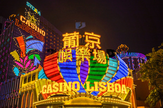 Casino Lisbao at night in Macau, China