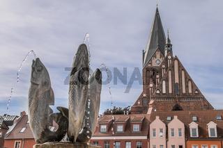 Marktbrunnen und St. Marien Kirche am Barther Marktplatz