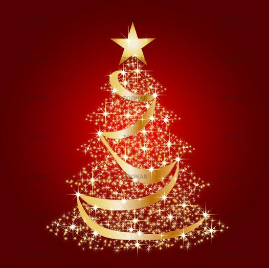 goldener weihnachtsbaum auf rotem hintergrund