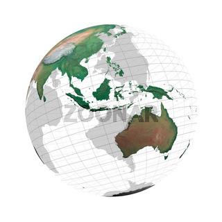 transparente Erdkugel mit Kontinenten und Gradnetz vor weissem Hintergrund