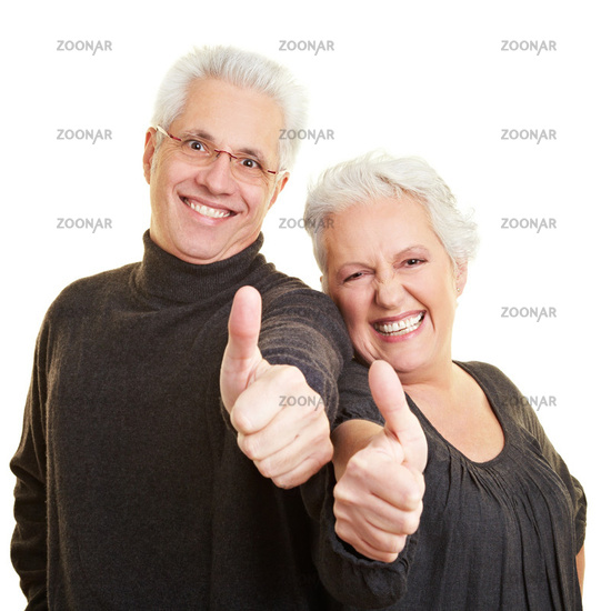 Seniors point with thumbs up