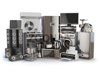 Home appliances. Gas cooker, tv cinema, refrigerator air conditioner microwave, laptop  washing machine, blender  toaster  coffee machine, meat ginder and kettle.
