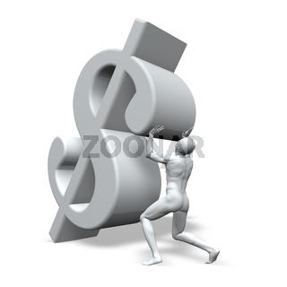mann stemmt dollarzeichen - 3d illustration
