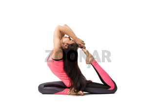 Pretty woman doing yoga isolated shot on white