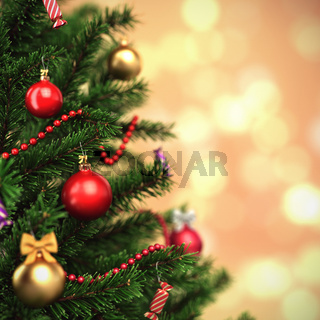 3d Rendering fragment decorated Christmas tree