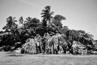 Seychelles island La Dique with granite rocks