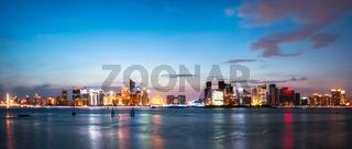 cityscape and skyline of hangzhou from water