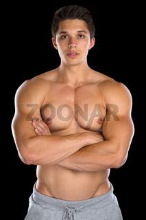 Bodybuilder Bodybuilding Muskeln Mann stark muskulös jung freigestellt auf schwarz