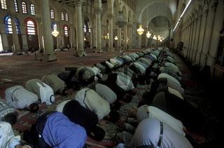 Die Umayyad Moschee in der Hauptstadt Damaskus in Syrien im Nahen Osten.