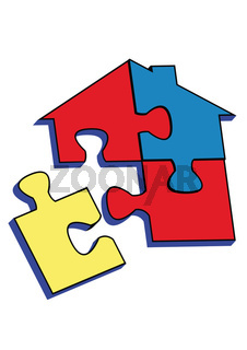 PUZZLE HOME WITH Red, blue yellow coors.