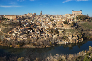 Toledo, Spain. Aerial view of medieval city Toledo in december