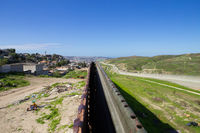 The border fence dividing U.S. and Mexico