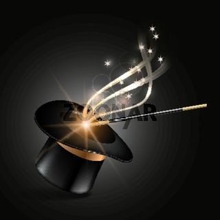 Magic hat and wand with magical gold sparkle trail