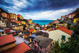 Riomaggiore colors during storm