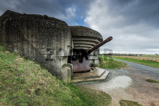 German bunkers and artillery in Normandy,France