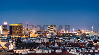 Aerial view over the cityscape of Vienna at night