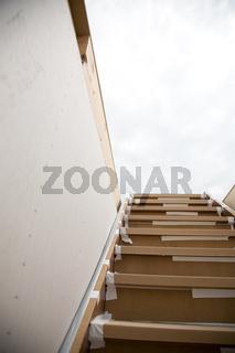 Treppe bei Fertighaus