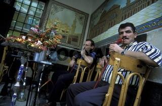 Das Teehaus An Nafura in der Altstadt  der Hauptstadt Damaskus in Syrien im Nahen Osten.