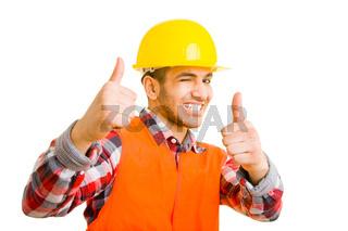 Bauarbeiter zwinkert