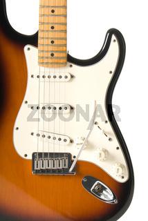 Guitar body (Stratocaster) on white background.
