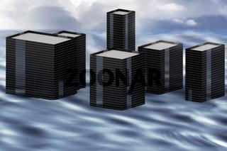 Flooded city,3D-illustration