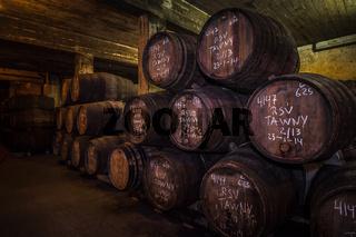 Port wine barrels in cellar, Vila Nova de Gaia, Porto, Portugal