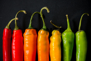 vibrant colors on peppers on black slate bacground